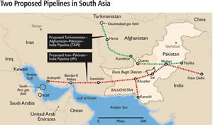 Two Proposed Pipelines To South Asia